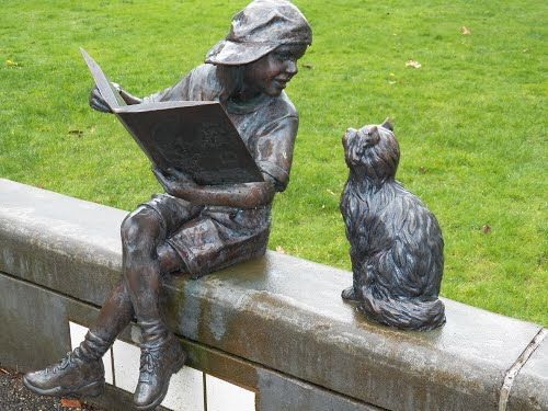 Girl Reading to Her Cat Statue, Longview Public Library, Longview Washington: