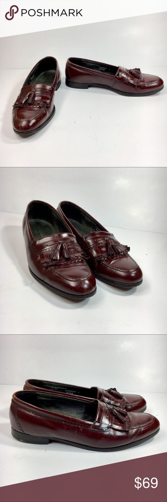 Bostonian USA Men 10.5 Leather Tassel Loafers Bostonian USA Men 10.5 Burgundy Leather Kiltie Tassel Moc Toe Loafer Dress Shoes Preowned in okay condition with moderate scuffing around the toe area of the shoes and some more scuffing on the sides. Bostonian Shoes Loafers & Slip-Ons