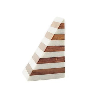 Striped Marble + Wood Bookend by West Elm
