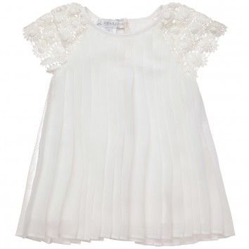 CHARABIA  BABY GIRLS IVORY PLEATED DRESS WITH CROCHET SLEEVES