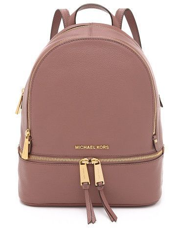 Rhea backpack by MICHAEL Michael Kors. A structured MICHAEL Michael Kors backpack in pebbled leather. Polished logo lettering accents th...