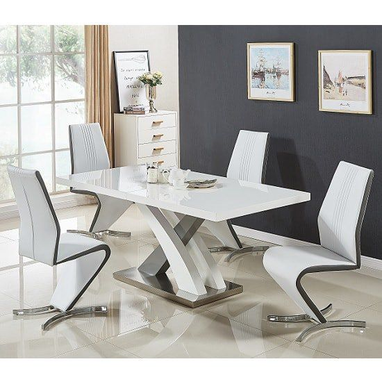 Axara Extendable Dining Set Small White Grey Gloss 4 Gia Chairs