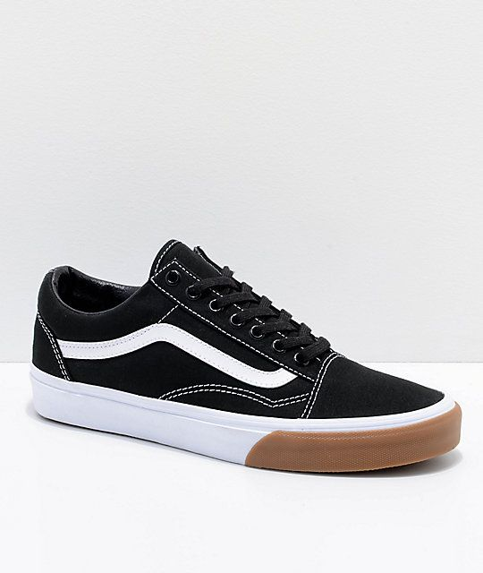 Vans Old Skool Black & Gum Bump Skate Shoes | Prom shoes