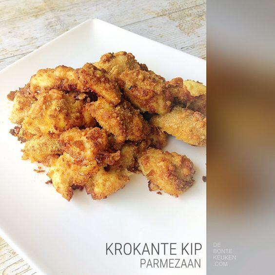 DeBonteKeuken: Krokante Kip Parmezaan.. (vlees, kip, kipfilets, ei, knoflook, paneermeel, Parmezaanse kaas, borrel, snack, hapje, oven, homemade)