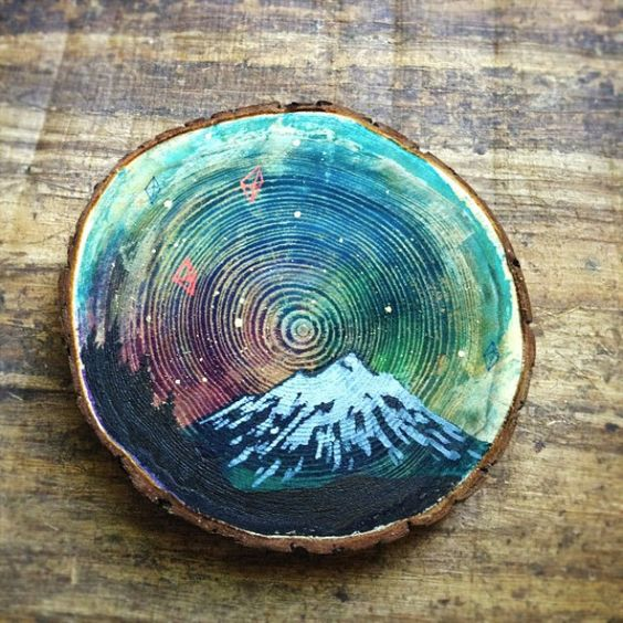 Mini paintings on cedar by Cathy McMurray on Etsy |  *This would be fun to do on tree stump chairs.