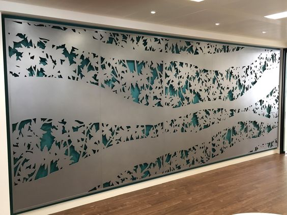 Laser cut wall art by Miles and Lincoln. Maple pentaptych. Styleresearch headquarters, Aldwych, London. www.milesandlincoln.com