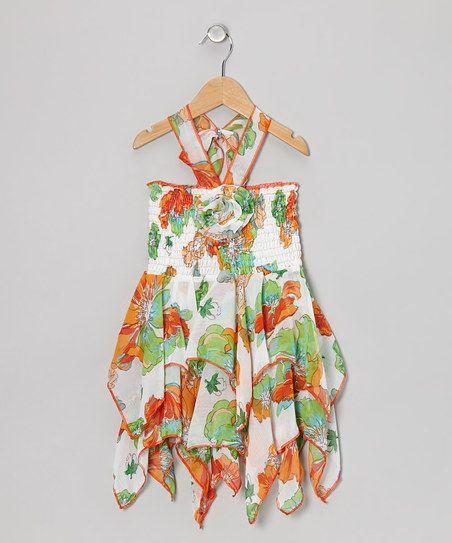 Green & Orange Hawaiian Handkerchief Dress
