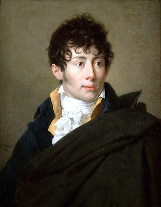 Portrait by François-Xavier Fabre (1766–1837) a French painter of historical subjects. Born in Montpellier, Fabre was a pupil of Jacques-Louis David,  made his name by winning the Prix de Rome in 1787. During the French Revolution, he went to live in Florence, becoming a member of the Florentine Academy  a teacher of art. On his own death, he bequeathed his own art collection to the town, forming the basis of the Musée Fabre.: