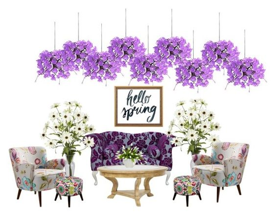 """hello spring"" by pokeasaurousrex ❤ liked on Polyvore featuring interior, interiors, interior design, home, home decor, interior decorating, Universal Lighting and Decor, Threshold, Lux-Art Silks and springflorals"