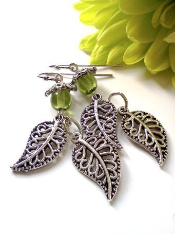 Budding Leaves Czech Glass and Filigree Dangle by PinkCupcakeJC, $10.00