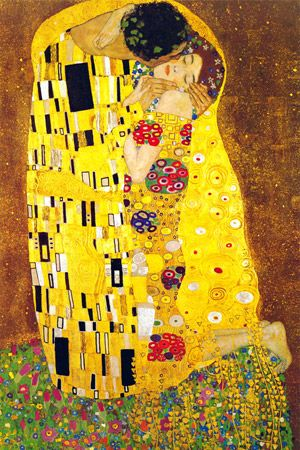 """The Kiss"" by Gustave Klimt (1907) is his most famous work.  oil paints and gold leaf"