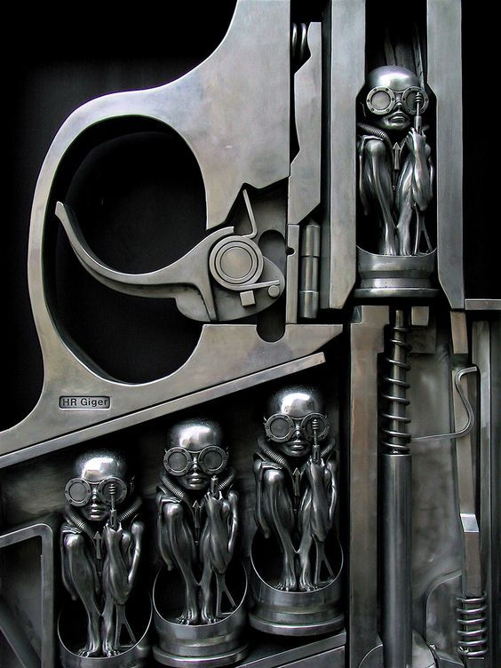 """""""Gun"""", by Swiss surrealist painter, sculptor, and set designer Hans Rudolf """"Ruedi"""" Giger. This sculpture is located at the entrance of the HR Giger Museum, Gruyère, Switzerland."""