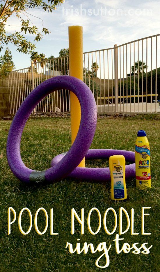 "DIY Pool Noodle Ring Toss Yard Game via Trish Sutton ""Summer has arrived. Enjoy a little fun in the sun playing Pool Noodle Ring Toss"" #ringtoss #diyringtoss #backyardgames #diyoutdoorgames #barbecuegames #barbecueideas #backyardpartygames #partygames #outdoorgames #diygames #yardgames #diyyardgames #summergames #summerparty #party #4thofJuly #fathersday #cookoutgames"