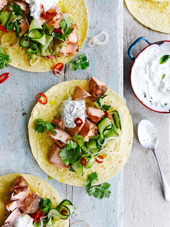Five-spice salmon tacos
