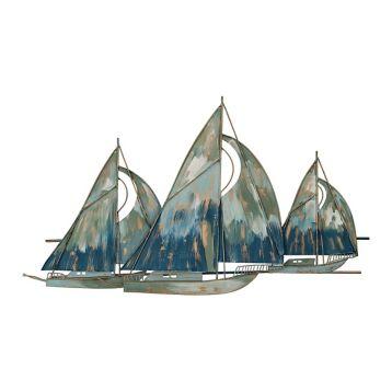 29 99 Metal Watercolor Blue Boats Wall Plaque Kirklands Boat Art Boat Wall Blue Boat