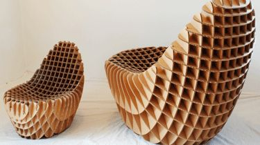 Corrugated cardboard chair from the Responsive Design Studio. $150