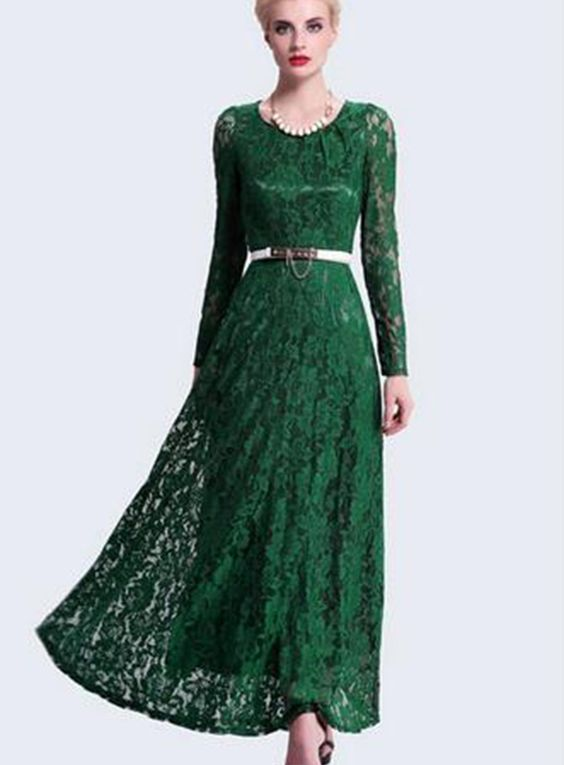 Gorgeous long green lace dress