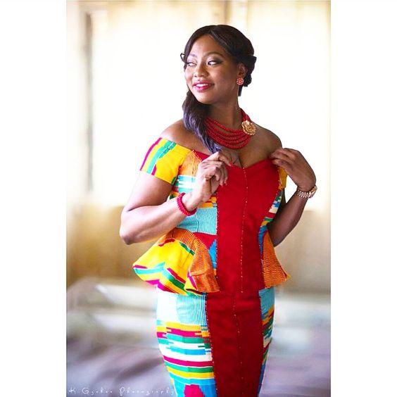 "I Do Ghana   ""In all her glory, Mrs. Coker   Photographer: K Gyabaa   Kente Wedding   Ghana Bride   African Fashion:"