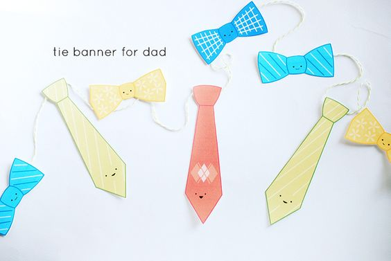 Printable Tie Banner by wildolive, via Flickr | http://wildolive.blogspot.com/2011/06/pattern-ties-for-dad.html