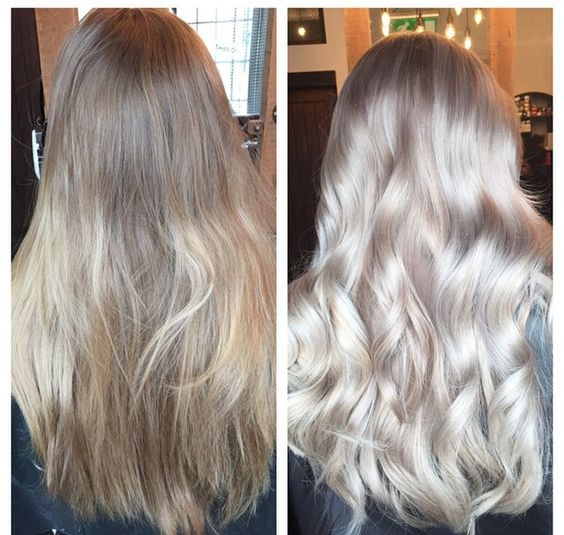 I went from a faded dirty blonde to a fab silver/ash/blonde balayage! Hair by…