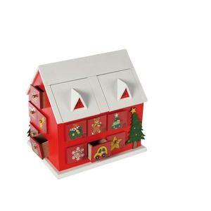 Calendrier de l'avent original en forme de maison en bois - 20 x 15 x hauteur 19,5 cm - Blanc, rouge