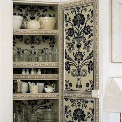 Surprise! Wallpaper Lined Cabinet · Inside CabinetsInside CupboardKitchen  ...