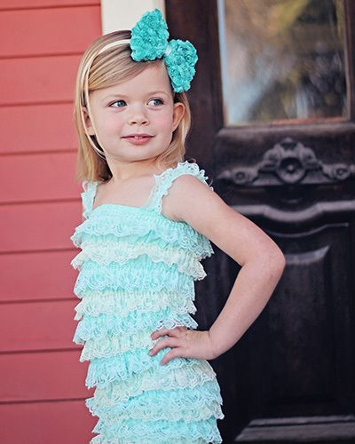Aqua & Ivory Two-Tone Petti Romper (Almost gone 3-4T ONLY!)