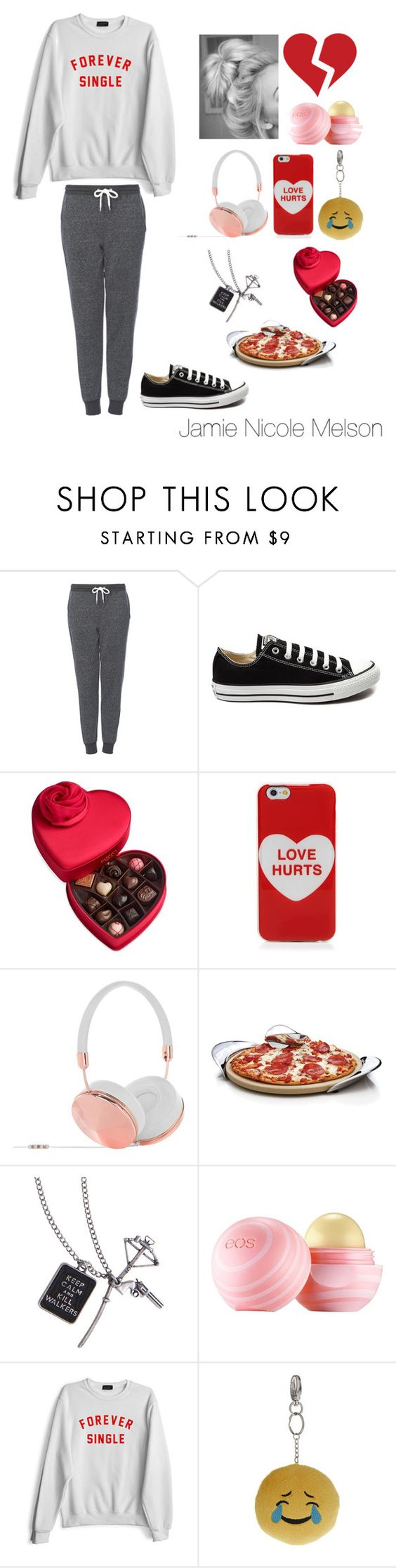 """""""Being Single on Valentine's Day"""" by jamiemelson ❤ liked on Polyvore featuring beauty, Topshop, Converse, Godiva, Marc Jacobs, Frends, Nambé and Eos"""