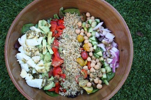 Quinoa Cobb salad with Pesto Vinaigrette