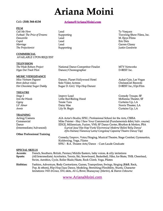 Acting Resume Template Free -    wwwresumecareerinfo acting - acting resume