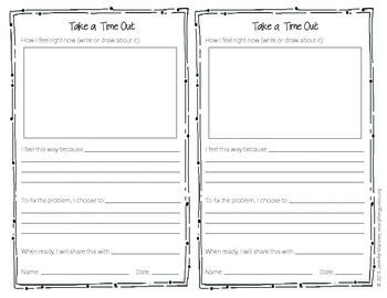FREE!! I use this sheet as part of my behavior plan during times when students struggle with self-control. Perfect for when students argue with each other, come back from recess upset about an issue and can't quite move on, or when someone just is feeling overwhelmed.