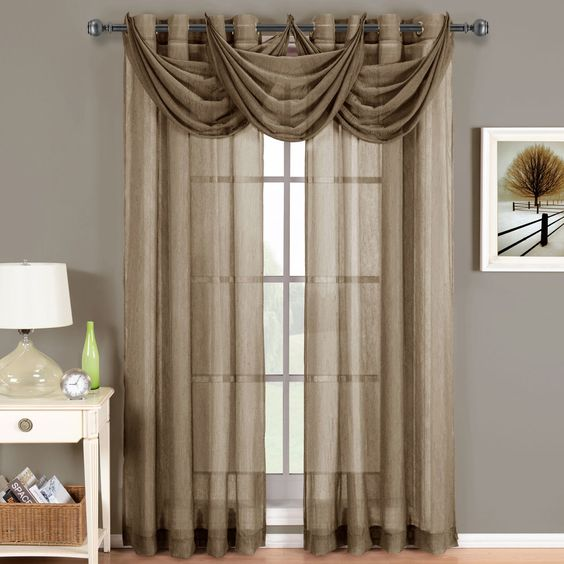 Sheer Curtains 63 sheer curtains : Details about 2 Abri Mocha Brown Grommet Crushed Sheer Curtain ...