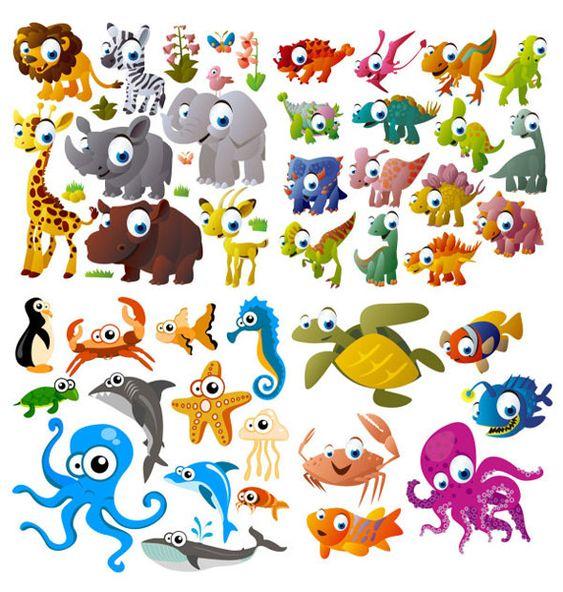 Animales vectorizados con estilo cartoon   Puerto Pixel   Recursos de Diseño