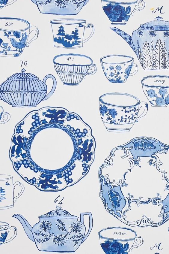 Delft Dinnerware Wallpaper by Molly Hatch