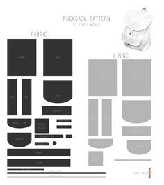 Here is the pattern for the faux leather rucksack I made. You can see the scale at the bottom right. If you make sure the red line is 10 cm when you print out the pattern, all the pieces will be th...