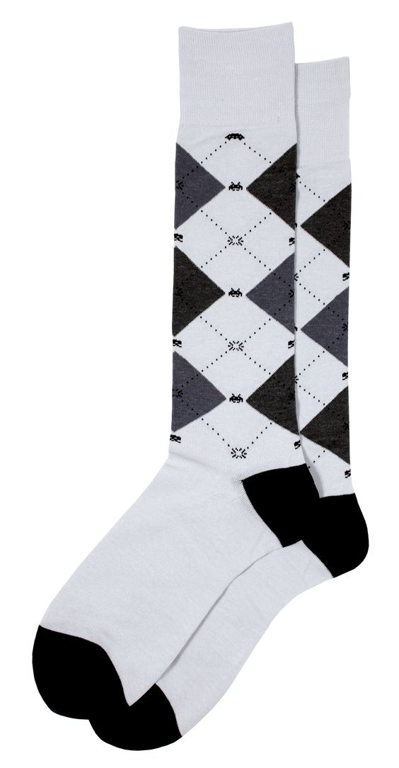 Brown cotton argyle dress socks featuring Space Invaders retro gaming pattern. Join in on some classic gaming action with this official pair of Space Invaders from Soxfords! #Soxfords #Socks #Style