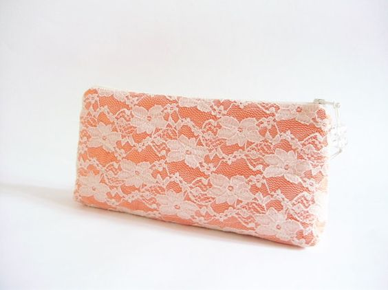 Lace Orange Wedding Clutch, Purse for Bride, Bridesmaid Gift Clutch, Wedding Handbag, Brauttasche