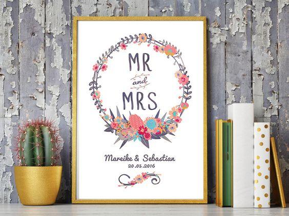 Weiteres - A4 HOCHZEITSTAG KUNSTDRUCK 'Mr&Mrs' persona... - ein Designerstück von wandzucker bei DaWanda