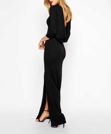 Another great find on #zulily! Black Drape-Back Maxi Dress #zulilyfinds