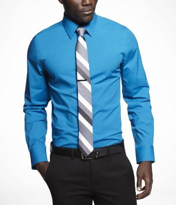 Express 1mx fitted stretch cotton shirt medium 15 15 1 2 for Express shirt and tie