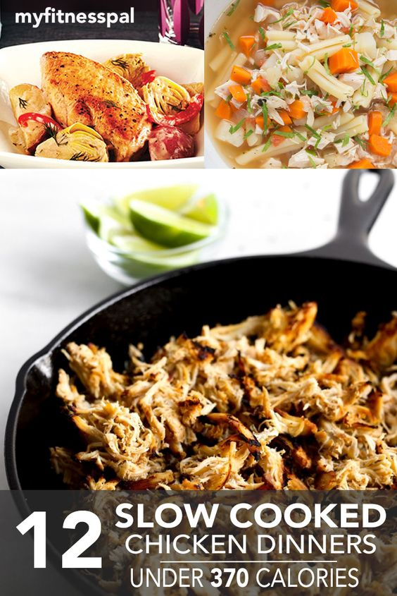 12 slow cooker chicken dinners under 370 calories for Healthy slow cooker chicken recipes