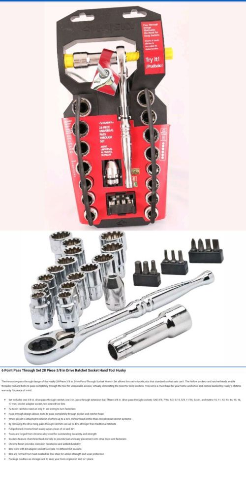 Socket Wrenches 84237 6 Point Pass Through Set 28 Piece 3 8 In Drive Ratchet Socket Hand Tool Husky Buy It Now Only 25 9 Socket Wrenches Wrenches Sockets