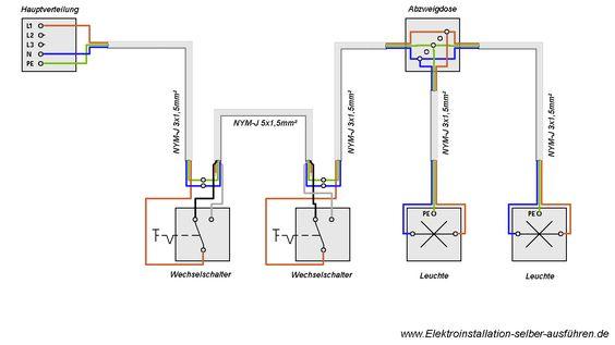 Inspirational Schaltplan einer Wechselschaltung mit zwei Lampen Elektrische Schaltungen f r die Hausinstallation Pinterest