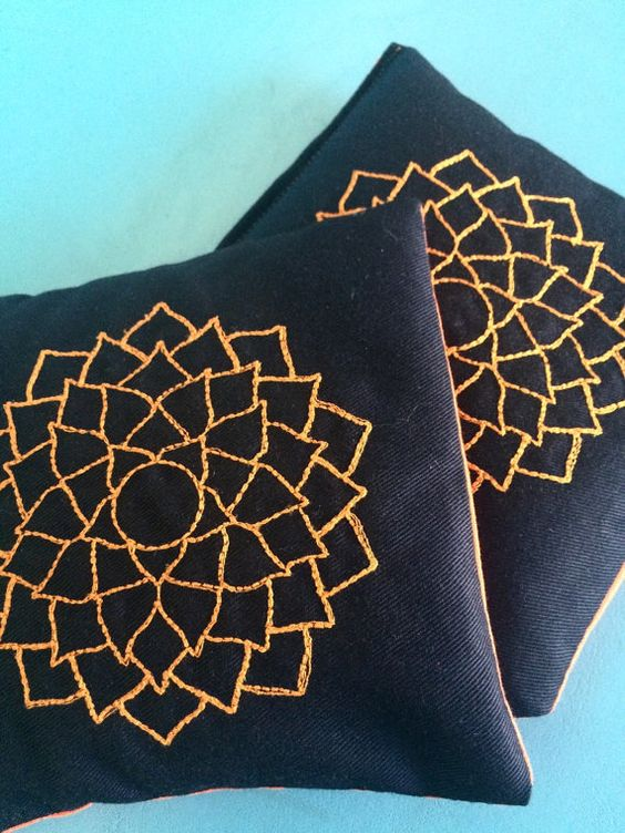 Organic Flax Seed Orange Lotus Flower Black Crown Chakra Embroidered Hand Pocket Warmers Pillow Ouch Pack Warm Heat Massage Therapy
