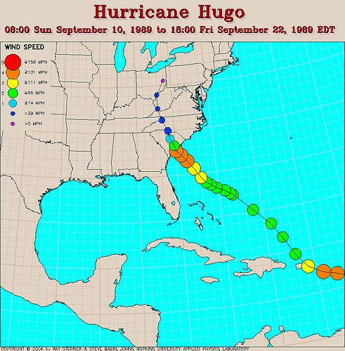 Hurricane Hugo track  Charleston south carolina