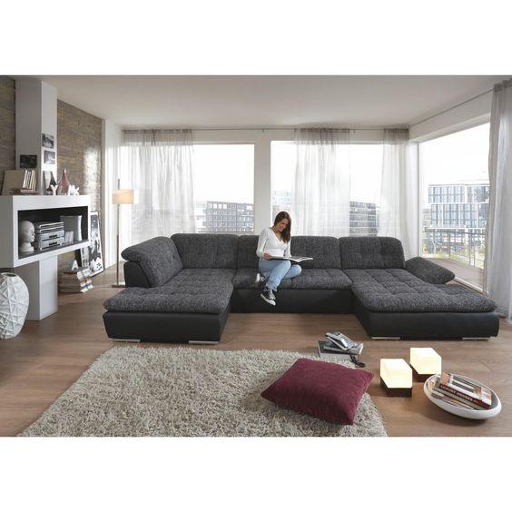 wohnlandschaft in grau textil - polstermöbel - polstermöbel, sofas
