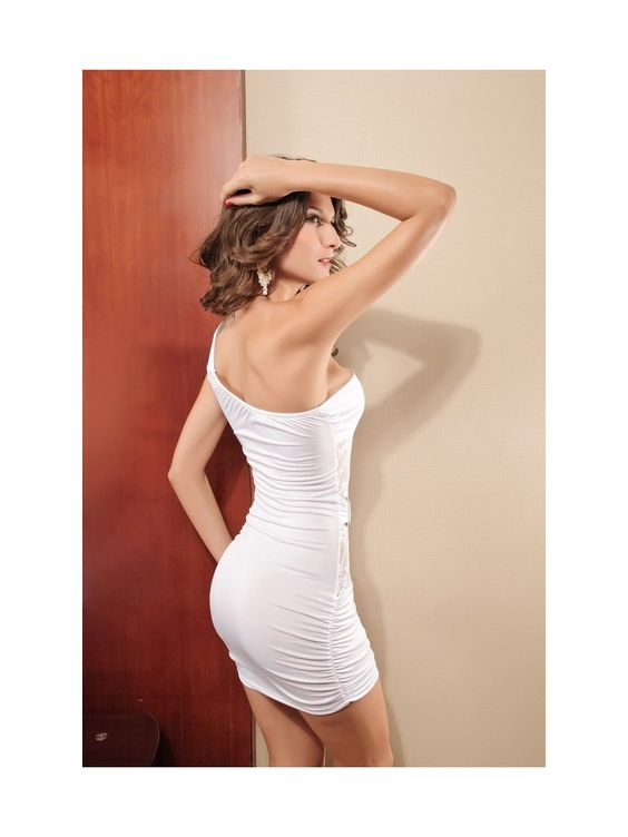 SEXY ONE-SHOULDER MINI DRESS WITH LACE INSERTS 1 #3sixty5Fashion #Fashion