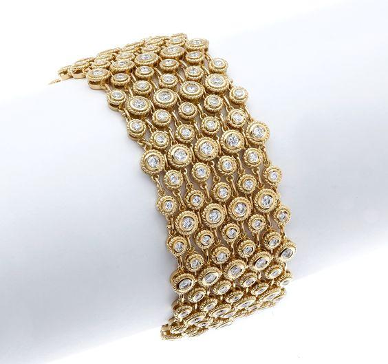 Gordon James Bezel-set Round Brilliant Cut Diamond Bracelet; 8.37 carat total weight.  Set in 18k yellow gold. http://www.gordonjamesdiamonds.com/products/diamond-bracelets/b-2071