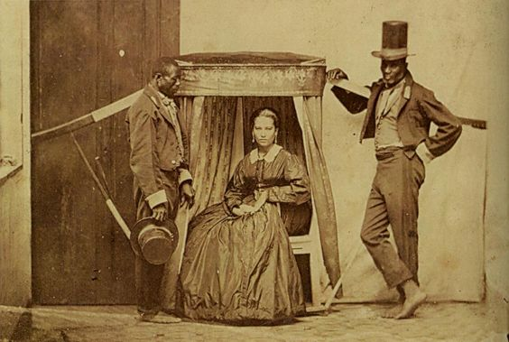 Lady in litter being carried by her slaves, province of São Paulo in Brazil.