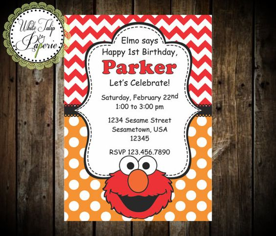 Elmo invitations Birthday invitations and Sesame street birthday – Customized Elmo Birthday Invitations